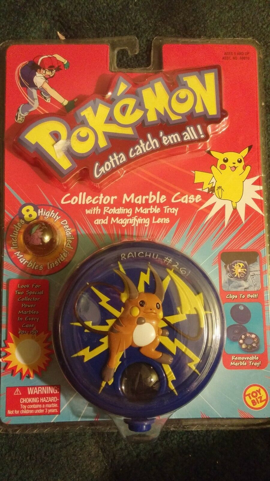 Pokemon Raichu Collector redating Marble Case Case Case w  Marbles Toy Biz 1999 MINT 54fce4