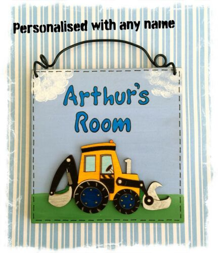 Wooden Digger Sign For Bedroom Door Handmade Plaque PERSONALISED WITH ANY NAME