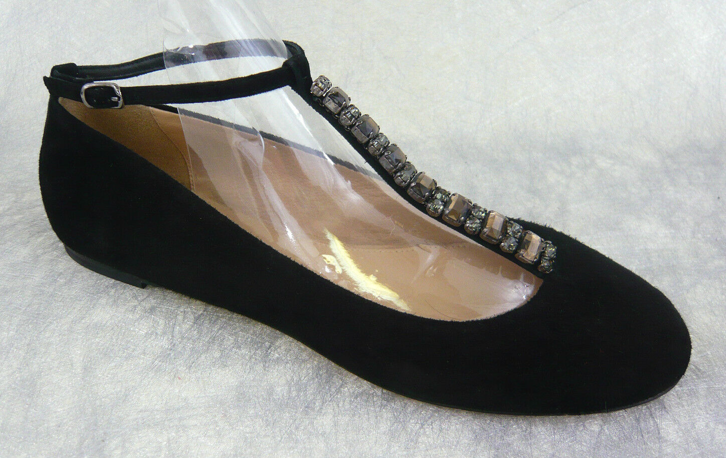 J. CREW COLLECTION JEWELED T-STRAP BALLET FLATS BLACK 7 Retail 228 ITALY