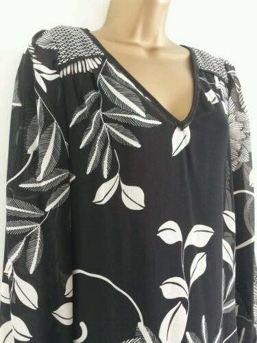NEW PER UNA M/&S 8 10 Chiffon Leaf Print Black Tunic Top Blouse Summer