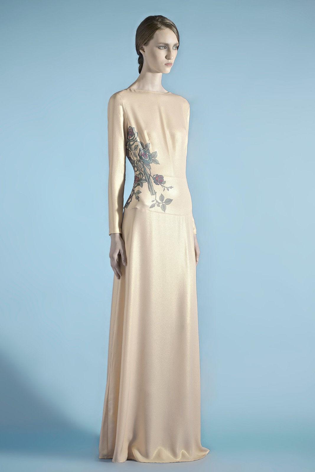 Vika Gazinskaya  3,400 pleine longueur robe Pistolet & Rose Tattoo Robe Maxi 36-F NEUF