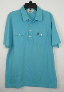 Penguin-by-Munsing-Wear-Classic-Fit-Short-Sleeve-Blue-Men-039-s-Size-M-Polo-Shirt-S