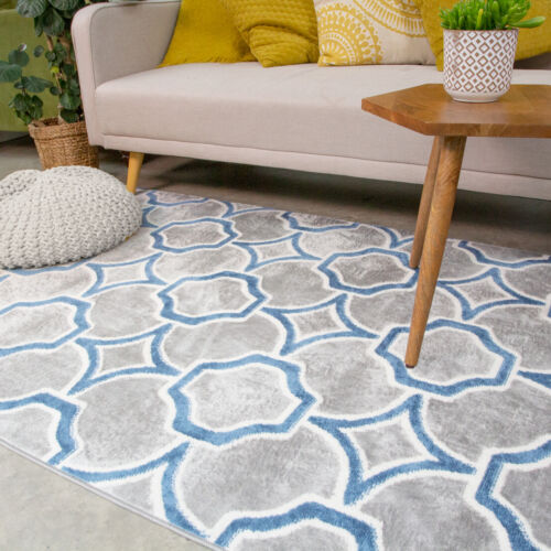 Blue /& Grey Moroccan Trellis Rug Small Large Soft Living Room Rugs Hall Runners