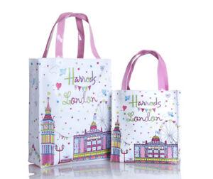 HARRODS-London-Big-Ben-PVC-Shoulder-Tote-Shopping-Carrier-Bag-S-M
