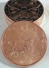 (2) 1 oz .999 Fine Copper Panda Bear 2012 Round Bullion