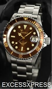 brand new squale y1545 20 atmos root beer brown watch warranty