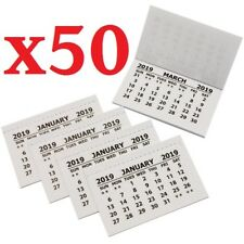 50 X 2019 Calendar Tabs / Insert White Mini Calender Tear Off Pads Month To View
