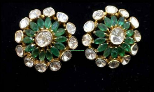 Details about  /Handmade Design 925 Silver Natural Polki With Emerald Gem Victorian Stud Earring