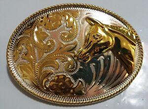 Cowboy-Del-Oeste-Cabeza-de-Caballo-Plata-y-Oro-Hebilla-de-Cinturon-Increible