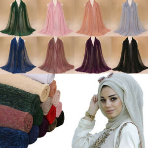 Muslim-Women-Glitter-Plain-Pleat-Chiffon-Wrinkle-Long-Shawl-Hijab-Crumple-Scarf