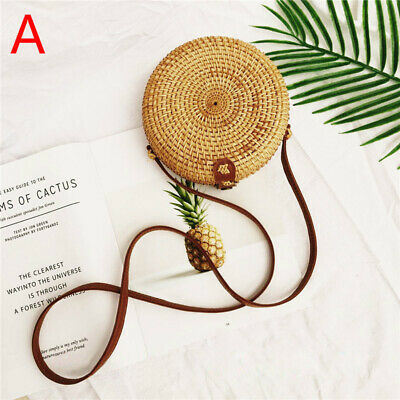 Round Rattan Straw Woven Bag Women Crossbody Holiday Beach Circle Handbag Retro