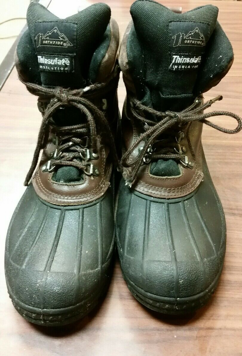 Northside uomini thinsulate inverno stivali di cuoio gomma impermeabile / ci taglia 12