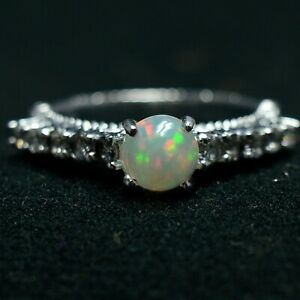 925 Sterling Silver Natural Fire Opal Round Cabochon Engagement Bridal Ring