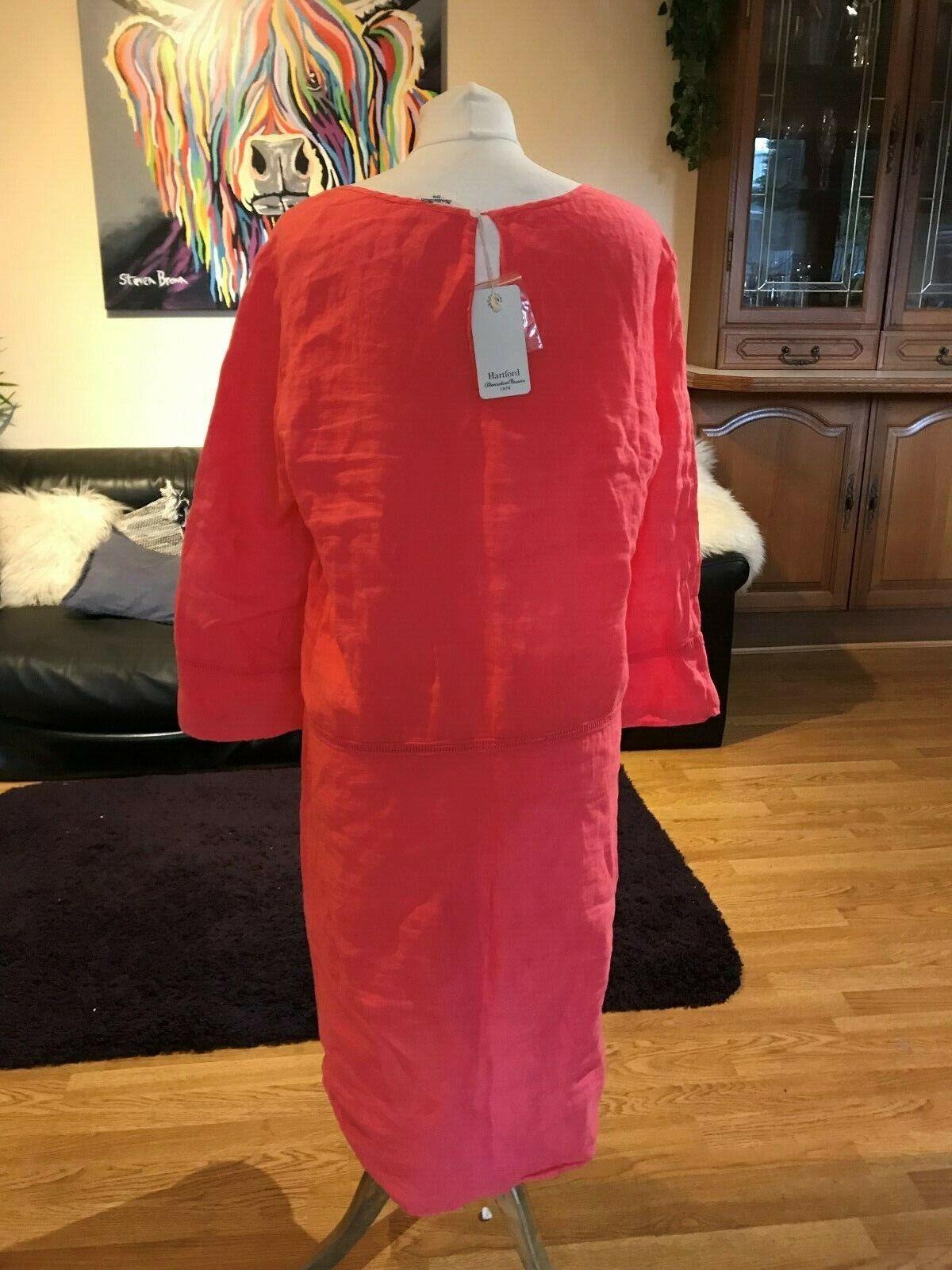 Hartford Alternative Classics Designer Risoli Linen Coral Kaftan Dress sz12 sz12 sz12 BNWT 6b9d03