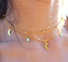 Women Charm Star Moon Jewelry Pendant Chain Choker Chunky Bib Statement Necklace