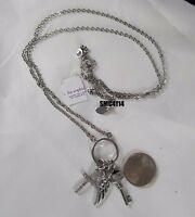 Lia Sophia Unlock Angels Silver Tone 30-33 Adj Charm Necklace With Cut Crystals