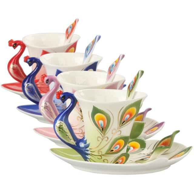 New Porcelain Handmade Peacock Coffee Tea Set 1 Cup 1 Saucer 1 Spoon 6 Color