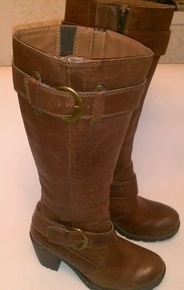 B.O.C. Born BOC Brown Leather Buckle Strap Detail Tall Boots Size US 6 EURO 36.5