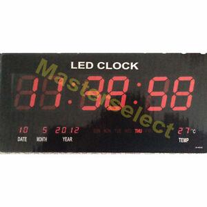 Horloge mural a affichage digitale avec led rouge rectangulaire heure de bureau ebay for Pendule digitale led