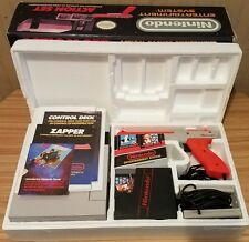 Original Nintendo NES Action Set In Box 100% COMPLETE ~ CIB ~Game Zapper Manuals