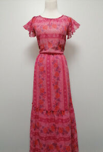 Vintage Damen Lang-Kleid in rosa mit Rosa-Muster 004104 | eBay