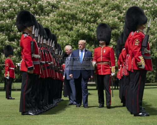 DONALD TRUMP INSPECTS THE GUARD OF HONOR WITH PRINCE CHARLES  8X10 PHOTO SP079