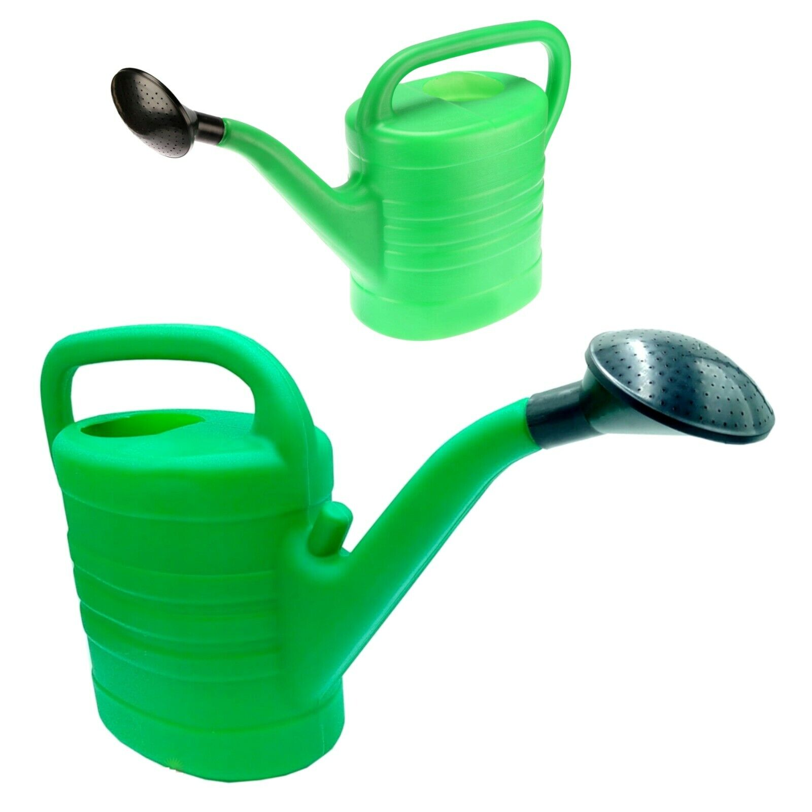 Green Plastic Watering Can with Black Rose Head for Veg Patches & Plants