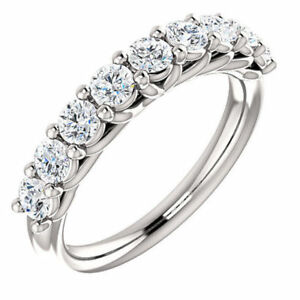 9 Stone Round 0 9ctw Off White Moissanite Eternity Sterling Silver