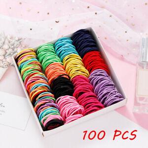 Children Girl Elastic Rubber Ropes Hair Ties Ponytail Holder Hairbands 100Pcs 6
