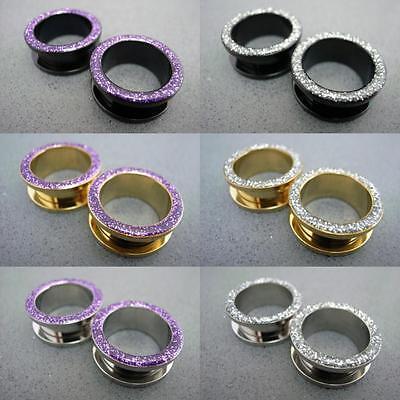 6mm-20mm Multi Color Steel Glitter Lilac & Silver Screw Flesh Tunnels Ear Plugs