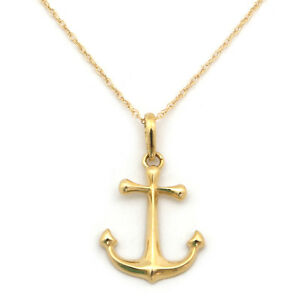 14k yellow or white gold anchor pendant necklace 13 15 16 18 image is loading 14k yellow or white gold anchor pendant necklace aloadofball Choice Image