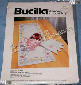 "Bucilla Set of 8 ""ELEGANT FLORAL"" Napkins Stamped Embroidery Kit – with Floss"