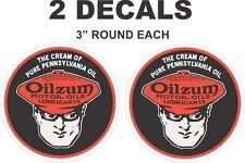 2 Round The Cream of Pennsylvania Pure Oil Oilzum Vinyl Decals