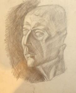 Details About Vintage Pencil Painting Abstract Man Portrait