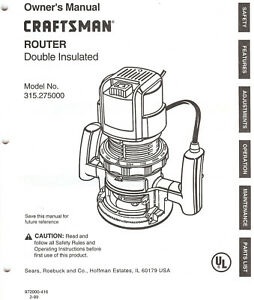 owners manual craftsman router 315 275000 ebay rh ebay com Craftsman Router Table Manual Sears Craftsman Router Manual