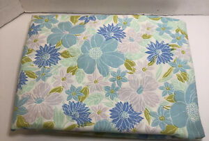 Vintage-Retro-Wondercale-Springmaid-Double-Full-Fitted-Sheet-French-Flowers-Blu