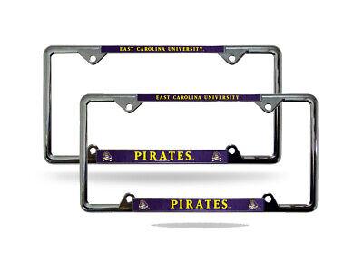 Rico East Carolina University Pirates NCAA Chrome Metal License Plate Frame