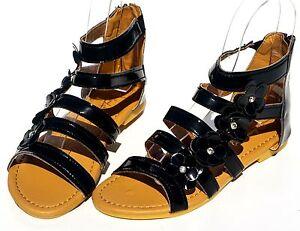 4e37468bddaf Girls Sandal Toddler Kids Flat Flower Gladiator Zip Back Open Toe ...