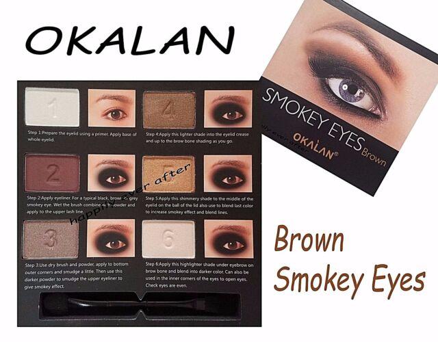 Okalan Smokey Palette Eyes Natural Brown 6 Powders With Application