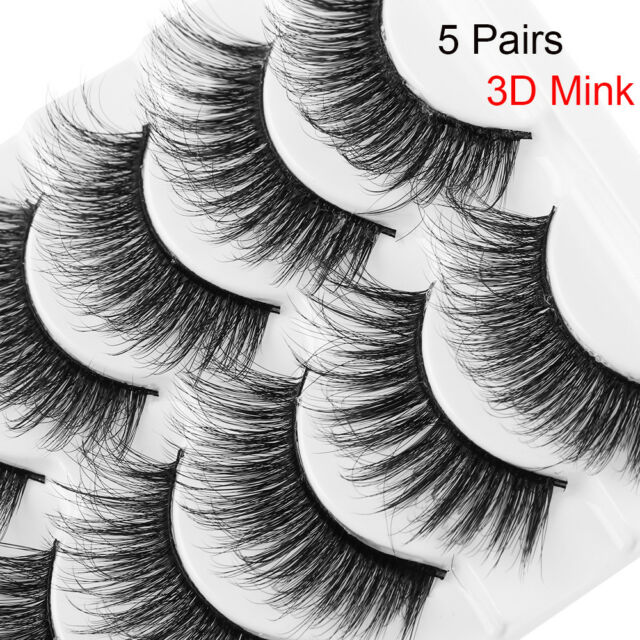 63364ae04d7 SKONHED 5 Pairs 3D Soft Mink Hair False Eyelashes Handmade Wispy Fluffy Long  A+