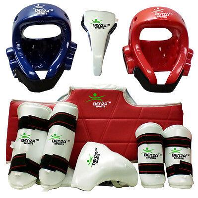 Shin Taekwondo Boxing Protect Gear Equip Set- Helmet Groin Guard Chest