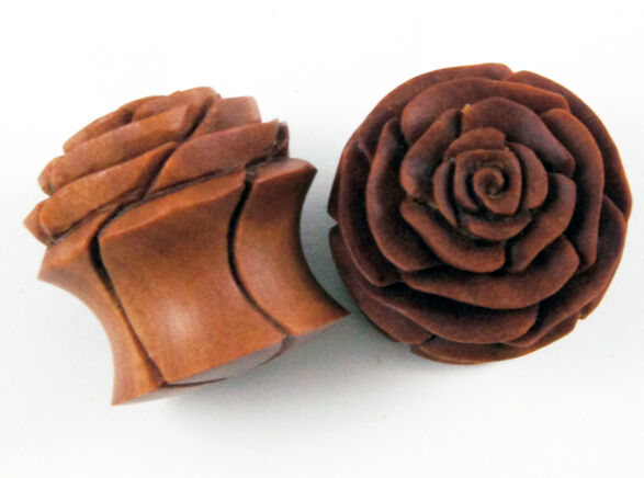 "Wood Flower Ear Plugs 0G - 1"" Sunflower Rose Lotus Blossom Natural Carved New US"