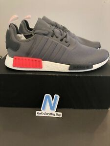Adidas-NMD-R1-Mens-Size-13-BD7730-Running-Shoes-Grey-Red-BRAND-NEW-WITH-BOX