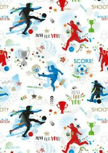 Details about 2 Sheets Gift Wrapping Paper HAPPY BIRTHDAY BOY Football Mens  Soccer Kids Teen