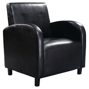 Black Pu Leather Leisure Chair Arm Modern Comfortable