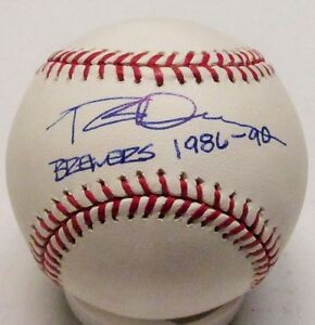 """Brewers ROB DEER Signed MLB Baseball AUTO w/ """"Brewers 1986-90"""""""