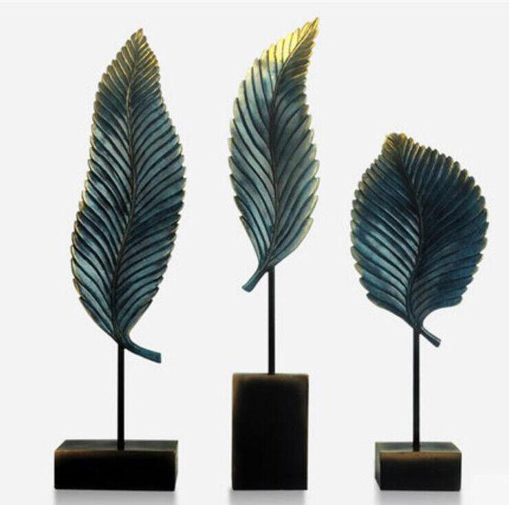 D627 3 PCS Bronze Leaf Figurine Living Room Bedroom Wedding Desktop Decor Gift Z