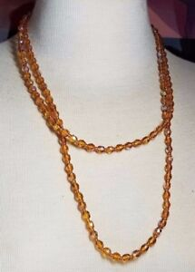 Vintage-Glass-Faceted-Bead-Vintage-Long-Necklace