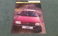 1984 de octubre de 1985 Peugeot 205 5 puertas Reino Unido Folleto Ge GL Gr Grd GT