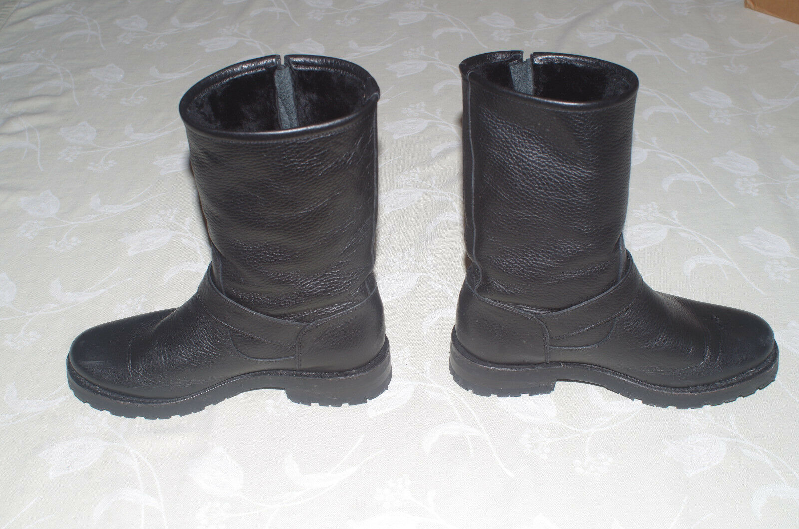 Frye Natalie Mid Engineer Lug Boots Boots Boots Black Leather and Shearling 7 Lightly Used 0da2d2